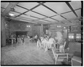 INTERIOR, LOUNGE, VIEW WEST - Roosevelt Lodge, Lodge Building, Tower Junction, Park County, WY HABS WYO,15-TOWJU,1A-7.tif