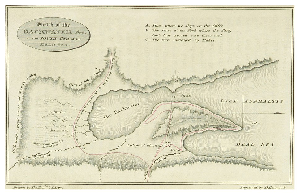 IRBY(1823) p507 SKETCH OF THE BACKWATER AT THE SOUTH END OF THE DEAD SEA