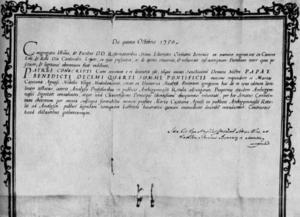 Maria Gaetana Agnesi - Agnesi's diploma from Università di Bologna