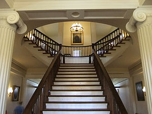 Old State Capitol State Historic Site - First floor interior and staircase of Old State Capitol.