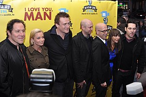 I Love You, Man - Jon Favreau, Jaime Pressly, Jason Segel, John Hamburg, Larry Levin, Rashida Jones, and Paul Rudd at the premiere in Austin, Texas in March 2009.