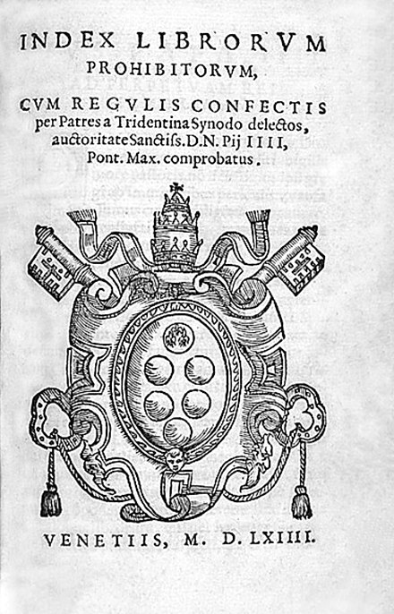 Title page of Index Librorum Prohibitorum (Venice 1564). Index Librorum Prohibitorum 1.jpg