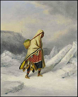 Indian Squaw Moccasin Seller Crossing the St. Lawrence River at Quebec, oil paintings by Cornelius Krieghoff