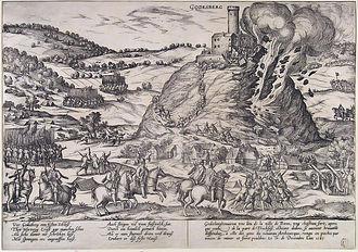 Siege of Godesberg - Image: Inname van Godesberg Capture and destruction of Godesburg in 1583 (Frans Hogenberg) Edit 3