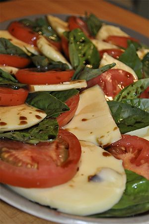 Insalata Caprese Salad. Made with tomatoes, ba...