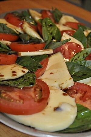 English: Insalata Caprese Salad. Made with tom...