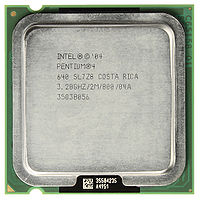 Top view of an Intel Pentium 4 Prescott 640 model