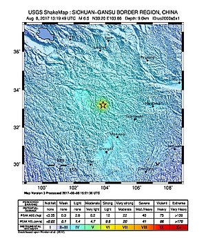 2017 Jiuzhaigou earthquake - The distribution of the seismic intensity of this earthquake, where the epicentre is labelled with a star (USGS)