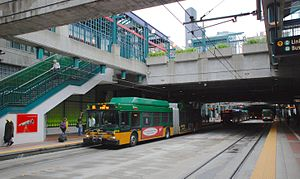 International District station with several Metro buses (2010).jpg