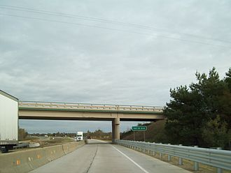 Interstate Highway standards - An Interstate Highway under construction, with both directions of traffic moved to one side of the roadway