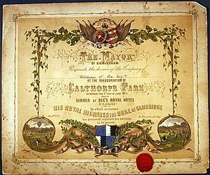 Calthorpe Park - Invitation to the opening, issued to William Sands Cox, founder of Queen's Hospital