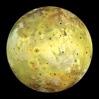Io (moon) - Galileo spacecraft true-color image of Io. The dark spot just left of the center is the erupting volcano Prometheus. The whitish plains on either side of it are coated with volcanically deposited sulfur dioxide frost, whereas the yellower regions contain a higher proportion of sulfur.