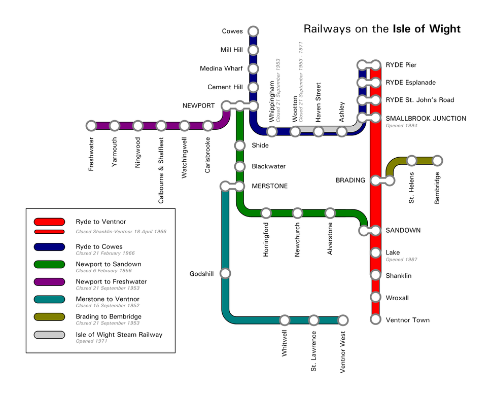 Isle of Wight railway system showing closed lines and stations, open lines and reopened lines