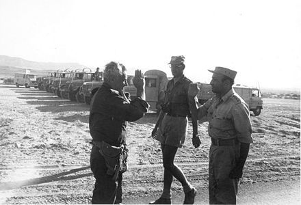 October 24. A UN-arranged meeting between IDF Lt. Gen. Haim Bar-Lev and Egyptian Brigadier General Bashir Sharif in Sinai. Israeli and Egyptian Generals Meet in Sinai - Flickr - Israel Defense Forces.jpg