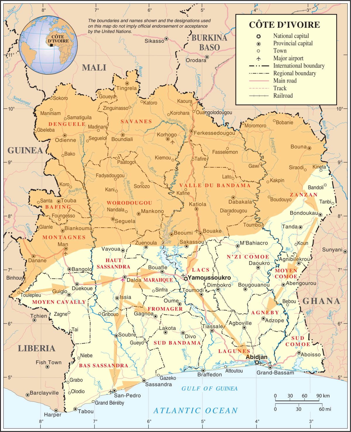 Second Ivorian Civil War Wikipedia - Ivory coast map of africa