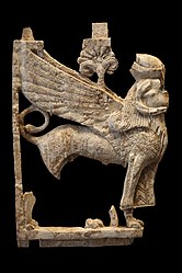 Plaque fragment: winged sphinx with a sheep head