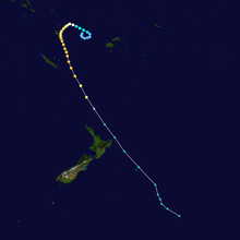 Ivy formed in the upper center of the map and completed a loop before curving towards the southeast and becoming extratropical near New Zealand.