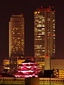 JR Central Towers & Nagoya Castle at night of Pink ribbon.jpg