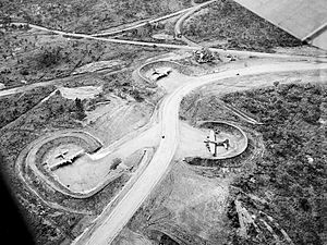 Port Moresby Airfield Complex - Jackson Airfield (7 Mile Drome), close up of revetments. Note B-17 Flying Fortress bombers parked in them