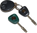 Jaguar X300 ignition key, keyfob, and valet key.jpg