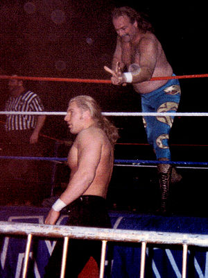 Jake Roberts - Roberts signaling at Hunter Hearst Helmsley in 1996