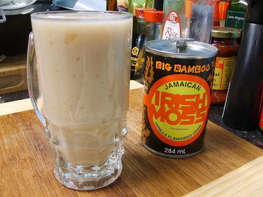 Jamaican Irish Moss drink - in can and over ice