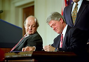 Gun control policy of the Bill Clinton administration - President Clinton signs the Brady Bill
