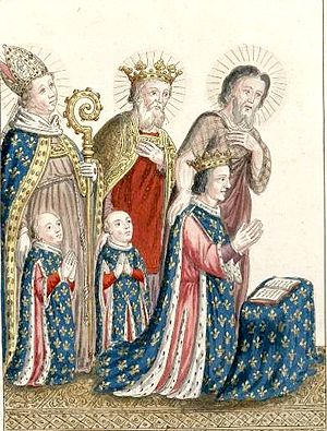 John of Valois, Count of Montpensier - John and his brother Charles praying behind their father