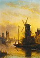 Jan Jacob Coenraad Spohler - A Summer Landscape with Windmill at Sunset.jpg