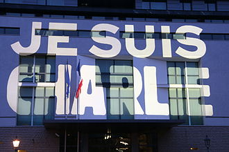 Je suis Charlie - Slogan projected on the French Embassy in Berlin