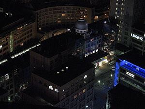 View from the Jen-Tower at night: the domed building was part of the former Carl-Zeiss works, now used by the University of Jena