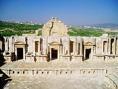 The stage of the south theatre in jerash jordan the structure at