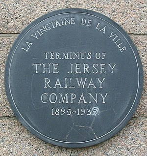 Jersey Railway - Plaque on old St Helier terminus