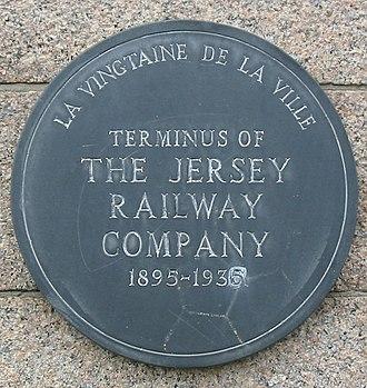 Jersey Railway - Plaque on old St Helier terminus