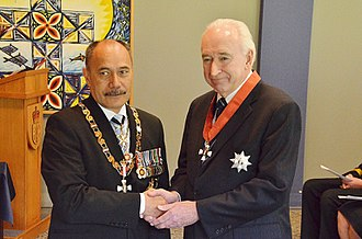 Jim McLay - McLay (right), after his investiture as a Knight Companion of the New Zealand Order of Merit by the governor-general, Sir Jerry Mateparae, on 27 August 2015