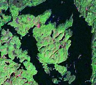 Joan Peninsula - Satellite image of a portion of Lake Temagami and the surrounding landscape. The Joan Peninsula is in the middle.