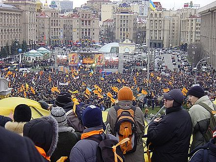 Protesters at Independence Square on the first day of the Orange Revolution Joesjtsjenko Marion Kiev 2004.jpg