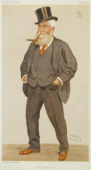 """Sir John Dugdale Astley, 3rd Baronet - """"The Literary Mate"""" Astley as caricatured by Spy (Leslie Ward) in Vanity Fair, July 1894"""
