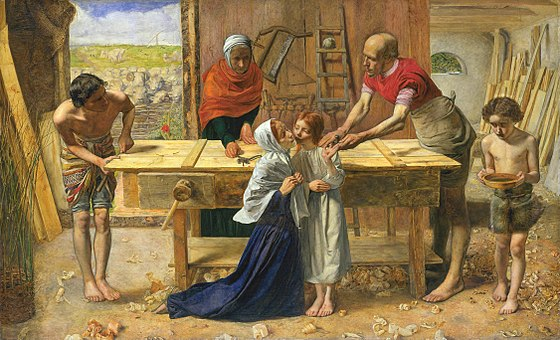 Christ in the House of his Parents, 1850, by John Everett Millais John Everett Millais - Christ in the House of His Parents (`The Carpenter's Shop') - Google Art Project.jpg