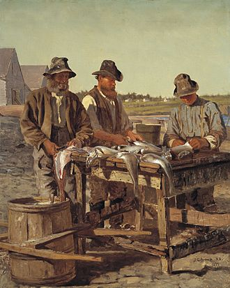 Fish processing - Cleaning fish, 1887. By John George Brown.