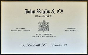 John Rigby & Company - Rigby label from the early 1900s