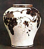 Joseon white porcelain jar with underglaze iron grape design.jpg