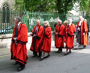Jurat - Jurats in robes of office in procession on Liberation Day 9 May 2008 in Jersey (Solicitor General and Attorney General following also in red robes but wearing jabots)