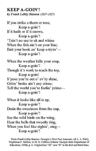 Frank Lebby Stanton - Stanton's familiar poem of optimism and encouragement