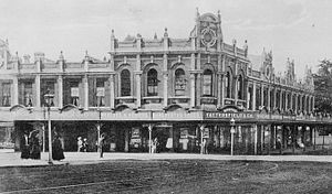 Karangahape Road - Corner Pitt Street and Karangahape Road in 1909, showing the rich architecture typical of many historic retail buildings constructed on the ridge street.