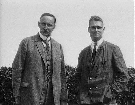 Karl Haushofer and Rudolf Hess, c.1920. Haushofer's ideas influenced the development of Adolf Hitler's expansionist strategies. He was instrumental in linking Japan to the Axis powers. KarlHaushofer RudolfHess.jpg