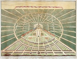 Karlsruhe Pyramid - Karlsruhe in 1739; the city's former main church (south/bottom centre) was later replaced by the smaller pyramid
