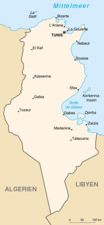 Politische Karte von Tunesien
