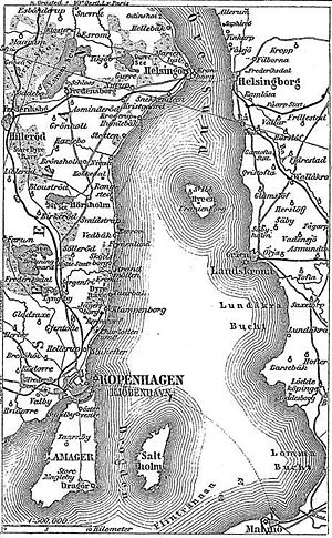 Sound Dues - Map of the Danish coast line to the west, and the Swedish coast line to the east. From 1888.