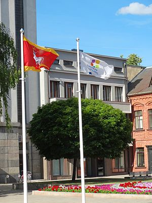 European Heritage Label - Flag of the European Heritage Label in Kaunas, Lithuania